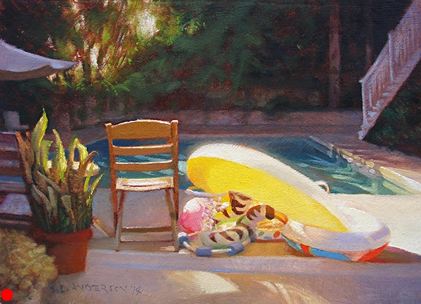 Pool Tableau , 12 x 16 oil on linen-mounted panel Friends of ours used to own this beautiful place in the Hollywood Hills. You can see the famous sign from the patio, but I couldn't take my eyes off these glowing pool toys.