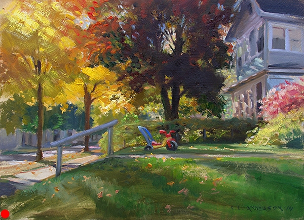 Trike , 12 x 16 oil on panel There is something life-affirming about a yard with kids' stuff left out. SOLD