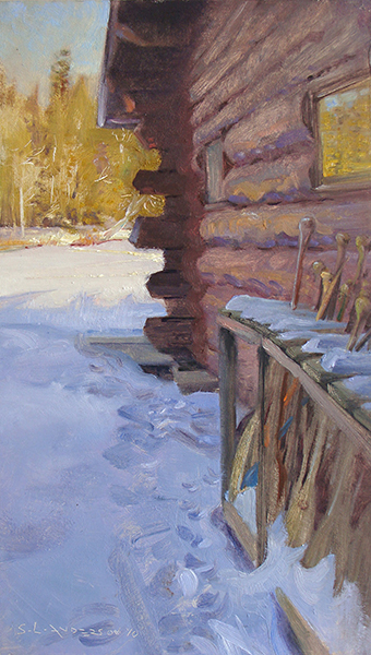 Cold Boat House,   12 x 20 oil on canvas The dark silhouette of the logs poking into the sunny part of the scene caught my eye and then I noticed the steps in the snow (always seductive) and the rack of the paddles and the reflection in the window then we were off to the races.