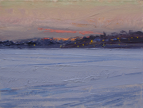 """Lake Harriet Sunset, 6 x 8 oil on panel I try to keep small panels in my bag to knock out small field studies such as this. Historically, plein air painters called these """"pochades"""" (pron. poe-shods) or """"pocket"""" paintings. They're notes–a shorthand of loaded brushstrokes to describe fleeting of light effects."""