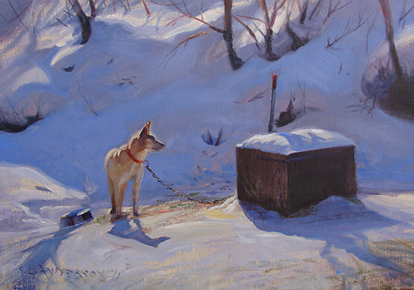 Ike, the Sled Dog , 16 x 20 oil on canvas I continue to be enthralled by complementary colors found in nature. Here we have orange and blue. And Ike's pretty cool too.