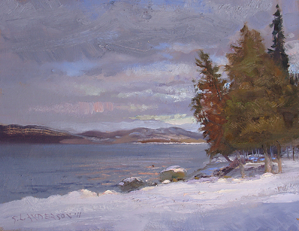 Setting Sun, Gunflint Lake,   12 x 16 oil on panel Painted on location in northern Minnesota with my host and comrade Neil Sherman. The previous evening we were glued to a book on plein air painting god Isaac Levitan, the Russian landscape painter from the late 1800s.