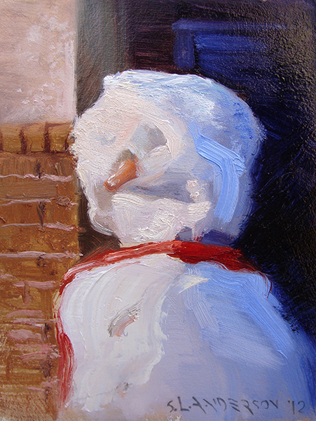 "Snowperson 1 , 7 x 5 oil on panel He/she is either saying, ""Sun's pretty bright this morning"" or ""Where are my sunglasses...?"""