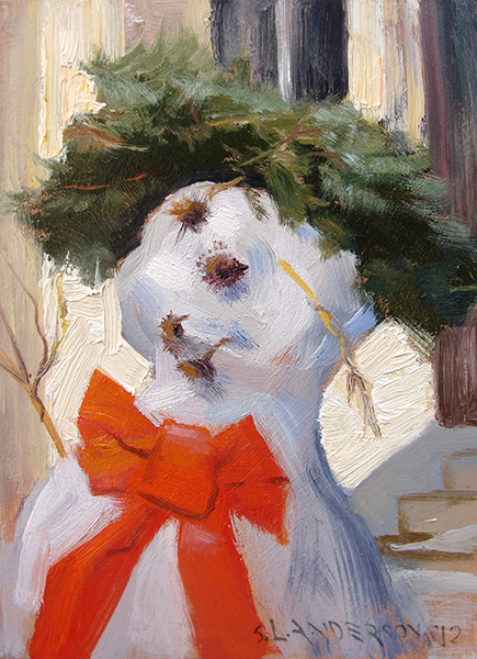 Snowperson 2  , 5 x 7 oil on panel I hate when my mouth starts to fall off in the morning.