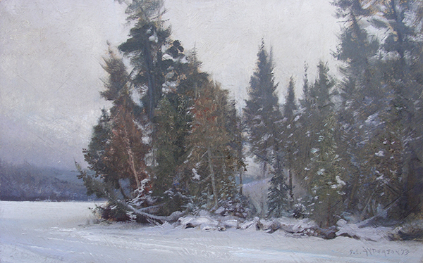 Conifers on the Shore,    20 x 12 oil on panel A misty day on Bearskin Lake painted during a Grand Marais Art Colony winter plein air event.