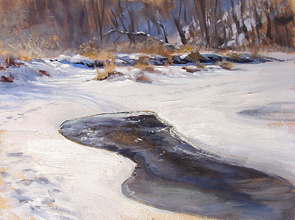 Ice on Nine Mile Creek,    12 x 16 oil on panel I was drawn to the shape of the thin coating of ice over the moving water.