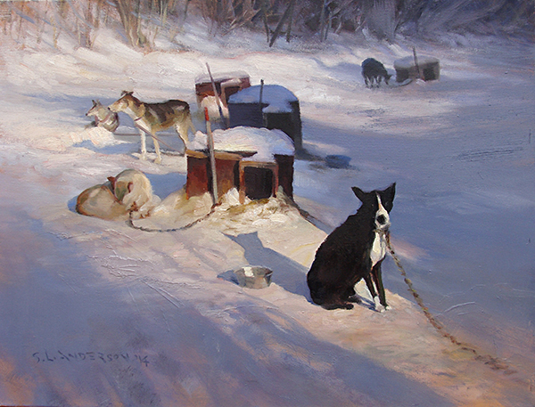 Blacky and Friends,    18 x 24 oil on canvas This is a variation of a painting done on location at Camp Menogyn up the Gunflint Trail, Bearskin Lake in northern Minnesota. I enjoyed working with the perspective of the richly-colored shadows on the ground plane. Blacky was circumspect about my motives.