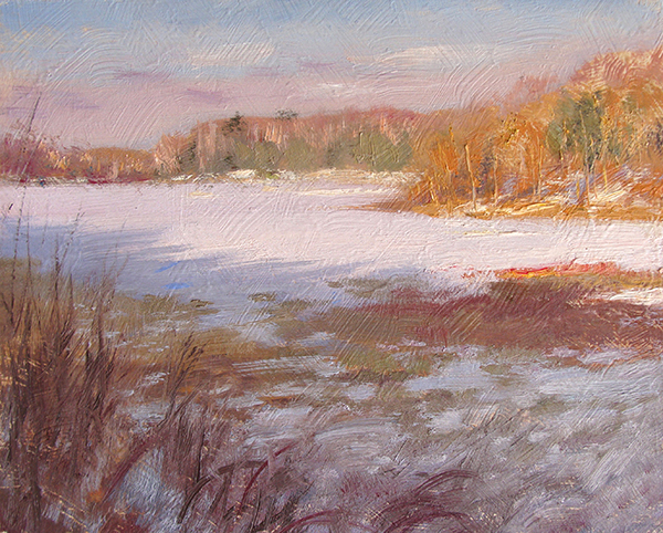 Winter Late Afternoon,   8 x 10 oil on panel On a frozen lake, late afternoon is an absolutely gorgeous time to paint.
