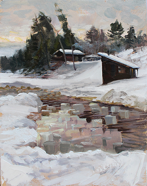 Ice Harvest,    16 x 12 oil on panel Painted near Ely, Minnesota, at the Steger Wilderness Center 2016 Ice Ball. Will Steger, the renowned polar explorer and climate change activist, hosts this event on his property every year. The ice is cut using chainsaws, long old-time handsaws, and lots of people power. Draft horses then make several trips up the bank, hauling the harvest to Steger's hillside cave-fridge, where the blocks are tucked tightly away to keep perishable foods fresh throughout the year. It's a real deal, pioneer-style, natural refrigerator that keeps it's chill well into the following autumn. They're doing a lot of cool work up there. Check it out at stegerwildernesscenter.org