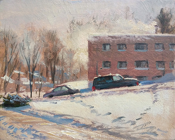 Frosty Morning on 41st Street, 8 x 10 oil on panel I managed to get just enough paint on the board to make the point, then I threw all my gear in my pack and jumped in my car before I froze my patootie off.