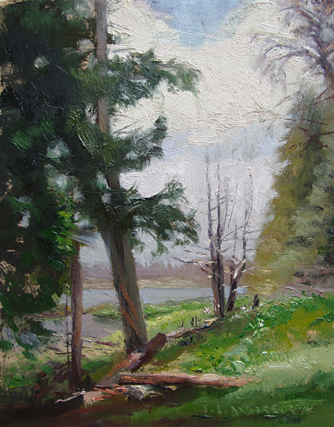 Canoe Country Greens , 8 x 10 oil on panel