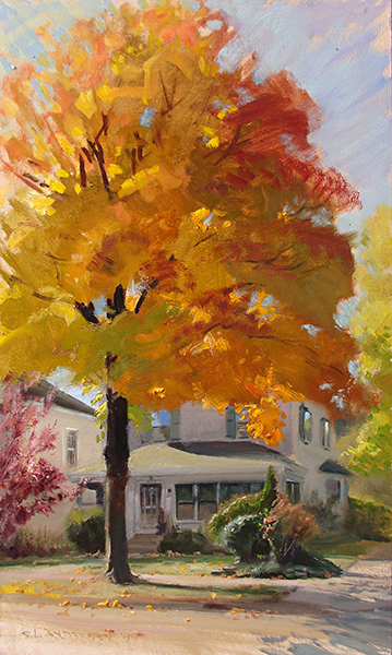Maple on Pleasant Avenue,  36 x 18 oil on panel Gotta love the glow of maples in the fall.