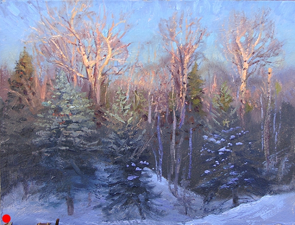 Early Light on the Treetops,  8 x 10 on panel This is one of those light effects one must have scoped out days before. Because waking up, getting fed and coffeed up, hiking out there, and setting up in near dark to await the first breath of light is hard. That's why people (try to) paint from photographs. SOLD