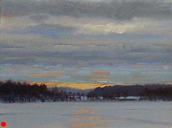 Early Light, Webb Lake , 6 x 8 oil on panel [09-095]