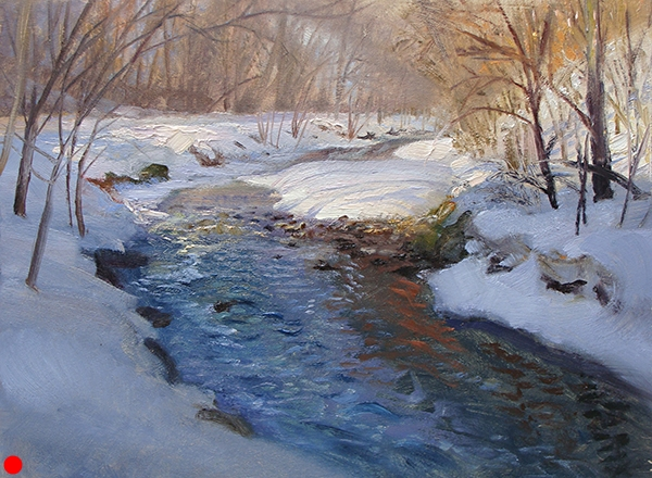 Nine Mile Creek Winter,    12 x 16 oil on panel This moving water never freezes over completely. The ripples across the rocks express all sorts of things—sky, reflections of the trees, and the underwater rocks and sand.  SOLD