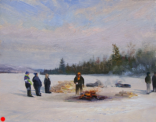 Bonfire on Gunflint Lake, 8 x 10 oil on panel There was an ice fishing festival on the lake this day. After turning in their entries,people stand around the bonfire to warm up. Quite the Northwoods fashion show.  SOLD