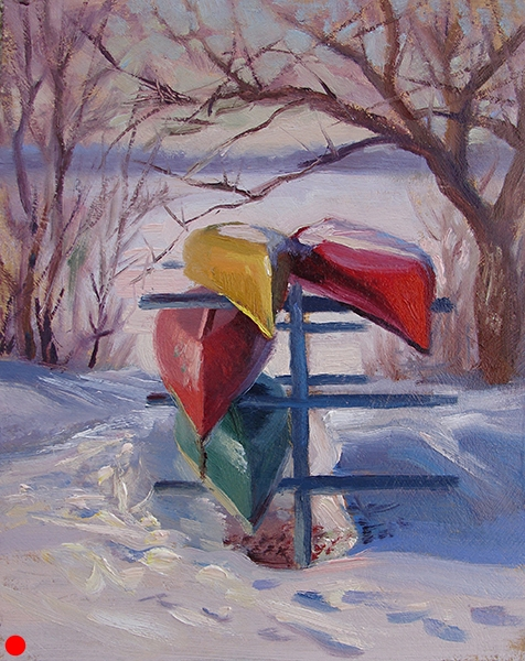 Canoe Rack, Winter,   8 x 10 oil on panel Drawing foreshortened canoes is always a fun challenge.I loved the color of the canoes and the shadows on the snow.  SOLD