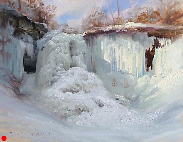 Minnehaha Falls, February, 16 x 20 oil on panel  SOLD
