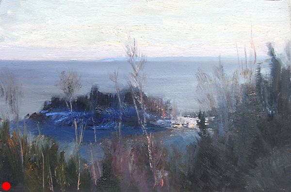 Little Marais Point, February,   11 x 7 oil on panel I love the glow of this backlit point of land along the Superior North Shore.  SOLD