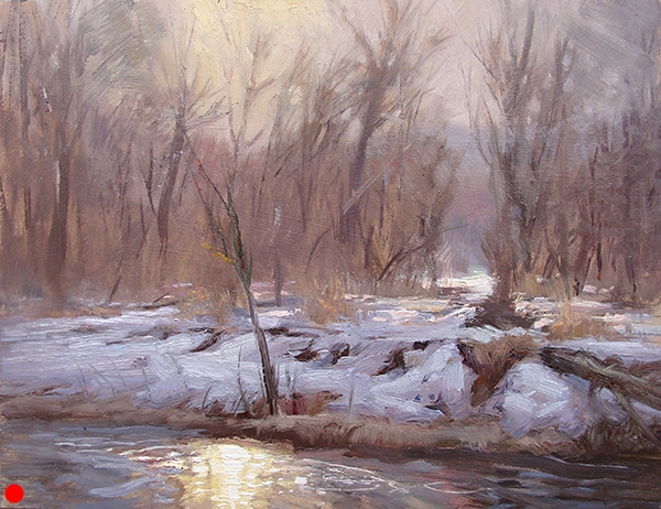 Morning Light Over the Creek,   16 x 12 oil on panel Painted near Bay City, Wisconsin. I had the privilege of painting that day with my colleagues  Richard Abraham  and  Joshua Cunningham . This was the first of three efforts in between a lot of coffee and a couple three or five beers.  SOLD