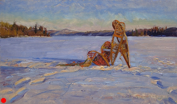Snowshoes on Bearskin Lake,   12 x 20 oil on panel This is an outdoor still-life I set up with my Duluth-based painting comrade Lee Englund.I sat on the snow to get a vantage point where the snowshoes intersect the horizon. As the sun crept lower and lower,we patiently waited for the moment when the colors on the snow shift into gorgeous violets,blues, pinks, and oranges––then slapped on paint with a frenzy that made the wolves howl! (Pardon my Jack London daydream.)  SOLD