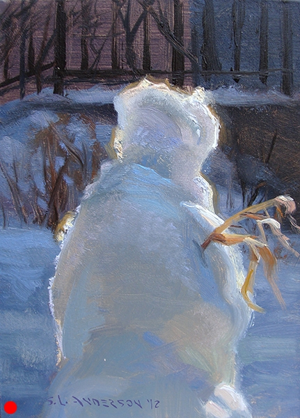 Snowperson 3, 7 x 5 oil on panel  SOLD