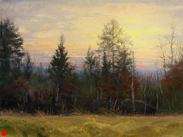 Oak, Pine, Dawn , 9 x 12 oil on panel Get up early enough and you'll always find something beautiful out there. SOLD
