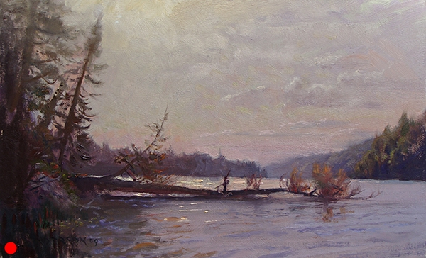 Morning on Flour Lake , 12 x 20 oil on panel Painted while sitting in a boat on a lake off the Gunflint Trail. Third Place award, Grand Marais Art Colony plein air, 2009. SOLD