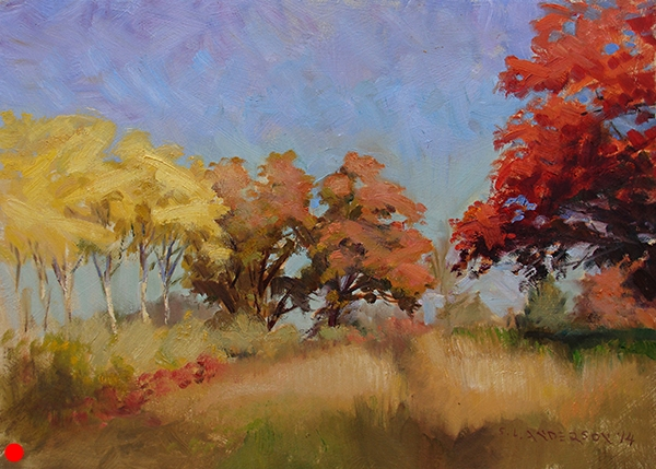 Autumn Color , 12 x 16 oil on panel Painted in the Eloise Butler Wildflower Garden at Wirth Park in Minneapolis. Fall is a tough time to paint in Minnesota. There's just so much chroma! I think I hit all points on the color wheel with this one. SOLD