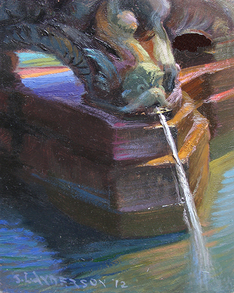 Hefflefinger Fountain, Lake Harriet Gardens , 8 x 6, oil on panel This is a detail from the angels and demons fountain at this popular Minneapolis park.