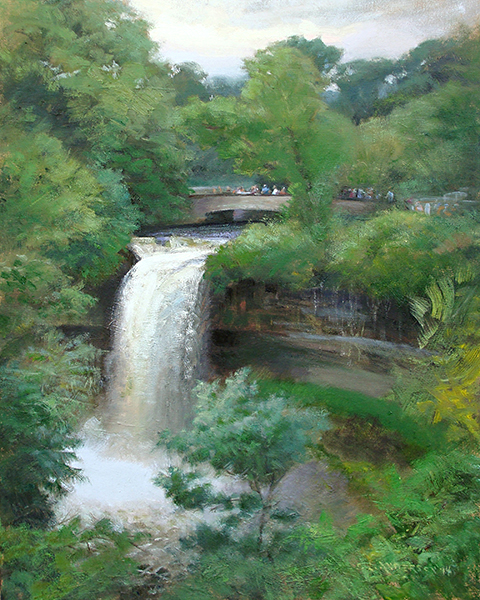 Big Water at Minnehaha Falls,  18 x 24 oil on panel A rainy June made for a lot of action coming over the top of the falls.