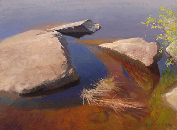 Rocks and Water 1,  12 x 16 oil on panel