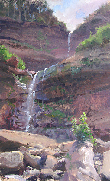Kaaterskil Falls, New York,    20 x 12 oil on panel Painted on location at one of the famous spots where Hudson River School painters set up.