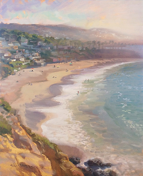 Crescent Bay Morning,    20 x 16 oil on panel The surf, waves, and changing sands create beautiful shapes and colors.