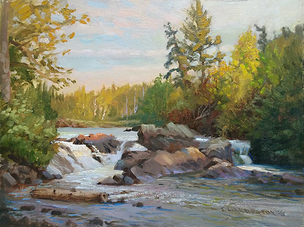 Seagull Lake Rapids  ,  12 x 16 oil on panel This was a very subtle light effect. The sun was slipping behind the trees, but still just barely touched the surface of the rocks and water. Painted at End of the Trail federal campgrounds on Seagull Lake, at the end of the Gunflint Trail in northern Minnesota.