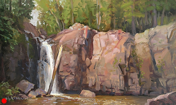 Encampment River, Lower Falls,  12 x 20 oil on panel (SOLD)