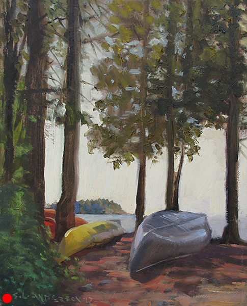 Boats on the Shore,    10 x 8 oil on panel (SOLD) Try drawing a tilted, overturned canoe viewed from one end. Go ahead. I dare ya.