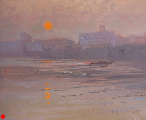 "Dawn on the Kaiping River,    8 x 10 oil on panel Painted on location in Kaiping, China. That's east of the immense city of Guangzhou in Guangdong Province. And that's just west of Hong Kong. The lovely orange tone in the atmosphere may be hazy and romantic, but it's smog. Funny, the same thing is going on in Monet's famous impressionistic painting, ""Impression, Sunrise."" The location is the port of Le Havre, his hometown. Monet was celebrating all the commerce and industry going on there. He was proud of the smog. SOLD"