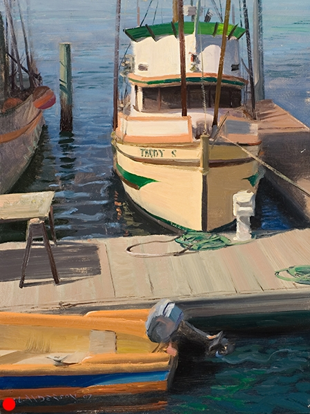The Trudy S , 12 x 16 oil on panel This was painted in Morro Bay, California in the morning. I don't have a personal affinity for boats, but they sure offer a fun drawing challenge. SOLD