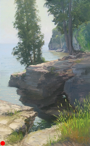 Cave Point, Door County, Wisconsin , 12 x 16 oil on panel SOLD