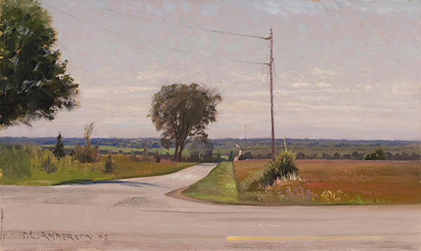 Fairview and County Road A , 12 x 20  oil on panel