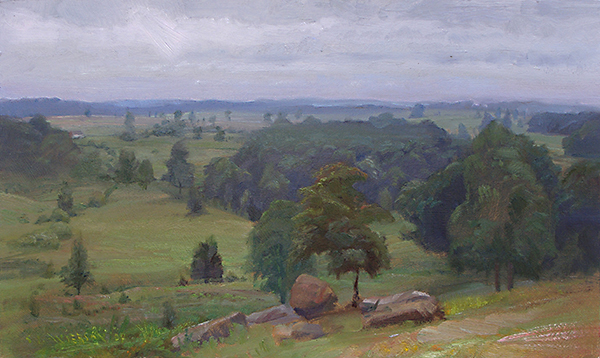Gettysburg: View from Little Round Top , 12 x 20 oil on panel Painted just before a rain at the Hallowed Ground in Pennsylvania. I'm looking north up the  fishhook line  the Union troops formed toward the end of the 3-day battle. This pastoral view shows some of the fields where so many lost their lives. Just beyond the big mass of trees, center right, is where the 1st Minnesota performed so heroically. Quite a story. Look it up.