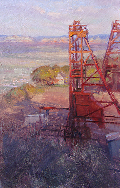 Setting Sun at the Mine , 11 x 17 oil on panel This contraption used to take miners down into a shaft said to be deeper than the Empire State Building is tall. After a morning of painting nearby in the old mining town of Jerome, Arizona, I looked forward to the afternoon, when the mountain would cast its shadow across the valley and the colors of the landscape would get richer and deeper. In order to paint the viewpoint I wanted, where the tower would intersect the horizon, I needed to stand on a slope of loose, broken rock. By the time I finished, it was dark and freezing. I accidentally kicked over my open knapsack, sending it tumbling down the slope, scattering stuff everywhere. Brushes, paint tubes, cell phone, keys. I spent the next half hour crawling up and down the rubble, praying the rental car keys would find my hands. They did.