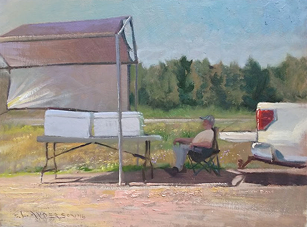 Roadside Fishmonger , 12 x 16 oil on panel This fellow was selling his fresh caught lake trout and walleye in Danbury, Wisconsin last summer. He said that he's made a living selling fish ever since he got back from Vietnam.