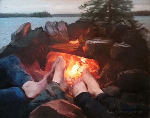 Feet to the Fire , 8 x 10 oil on panel When you canoe and portage in the wilderness, your feet get wet. This part of the day feels soooo gooood.