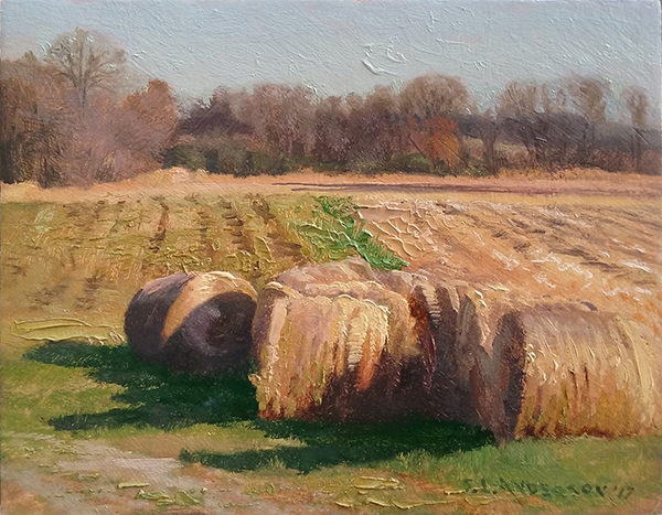 Haybales in the Sun , 8 x 10 oil on panel
