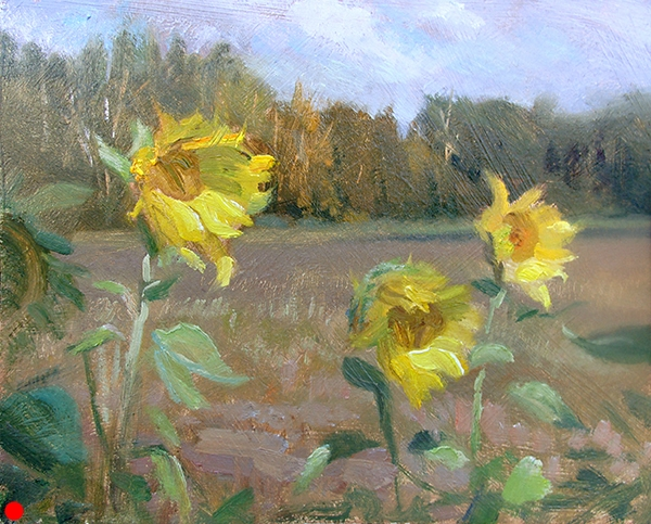 Breezy Sunflowers , 10 x 8 oil on panel Each has its own personality. SOLD