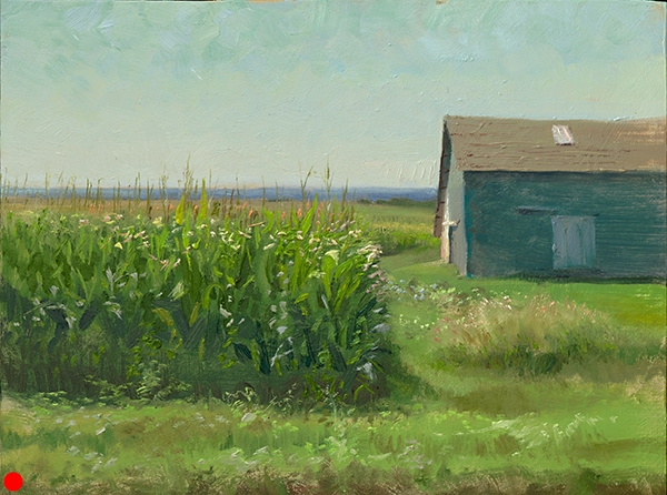 Cornfield and Barn , 12 x 16 oil on panel The summer was advancing and, despite being a midwestern painter, I hadn't painted corn yet, let alone a barn. Subject aside, this is an exploration (art speak alert) of the tension between flatness, modeling, and atmospheric perspective. SOLD