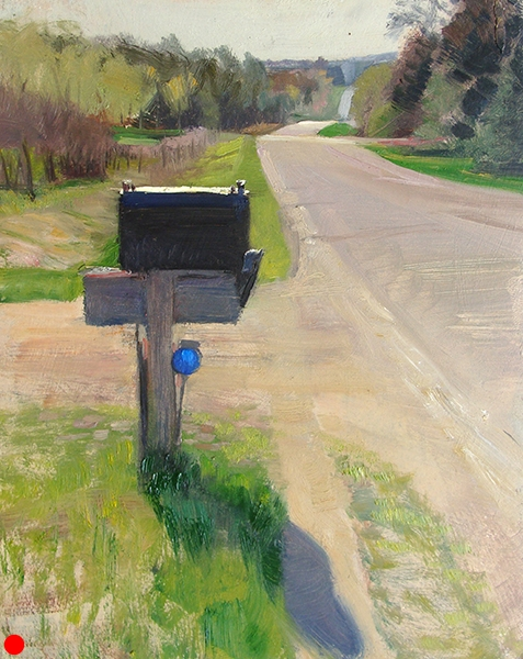 Country Mailbox , 8 x 10 oil on panel The midday summer sun tends to bleach out everything it touches, but if there's a spot of color to be found, I'll paint it. SOLD