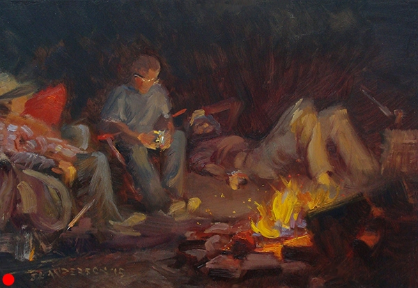 "Campfire , 12 x 16 oil on panel Painted with pals off the Gunflint Trail near the Loon Lake. Chosen ""Best Nocturne"" at Grand Marais Plein Air 2015. SOLD"